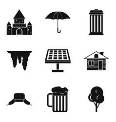 detached house icons set simple style vector image
