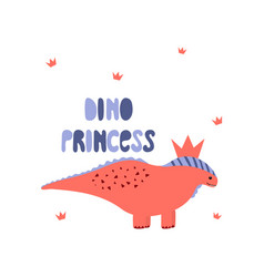 dinosaur girl cute print cool dino princess with vector image