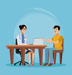 doctor with patient cartoon vector image