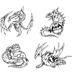 Dragon tattoos vector