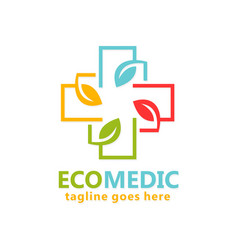 eco medical organic logo vector image