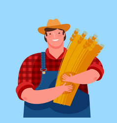 Farmer holding a sheaf wheat agriculture vector