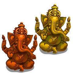 figurines of the indian deity of ganesha vector image