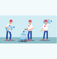 Filtered water courier flat characters set vector