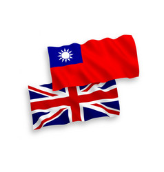 Flags great britain and taiwan on a white vector