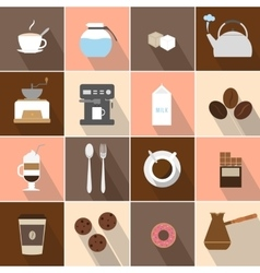 Flat design coffee icons set vector image