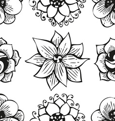 Floral doodling flower seamless pattern in tattoo vector