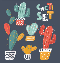 fun patch cactus set vector image