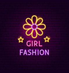 girl fashion neon sign vector image