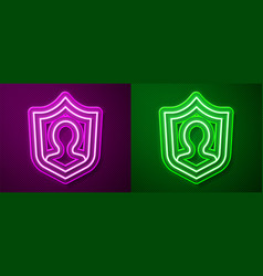 Glowing neon line user protection icon isolated on vector