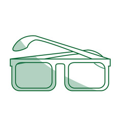 green silhouette shading glasses with contour vector image