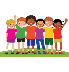 Group of children friends vector