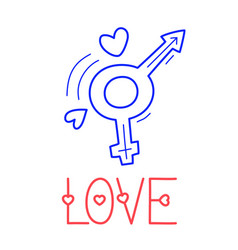 hand draw love sex icon in doodle style for your vector image