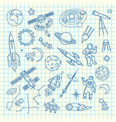 hand drawn space shuttle elements vector image