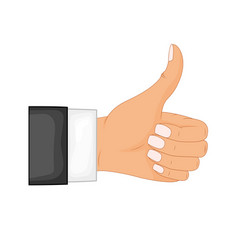 hand thumb up sign on a white background vector image