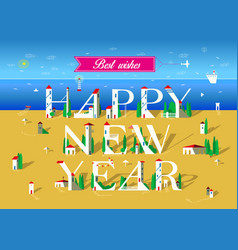 Happy new year summer beach vector