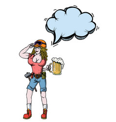 Hard working woman with beer-100 vector