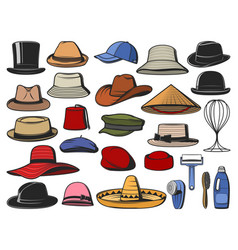 Hat and cap icons man and woman headwear vector