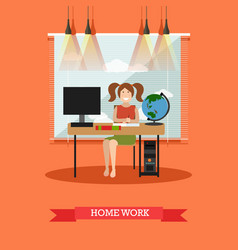 homework concept in flat style vector image