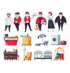 hotel staff and services furniture and objects vector image