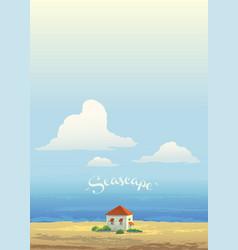 house on coast sea and high sky vector image