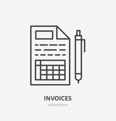 invoice flat line icon receipt paper with pen vector image