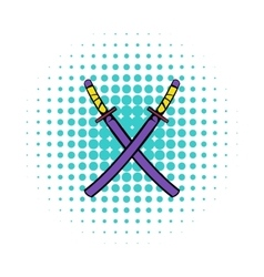 Japanese kendo sword icon comics style vector image