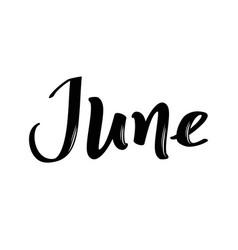 June month name handwritten calligraphic word vector