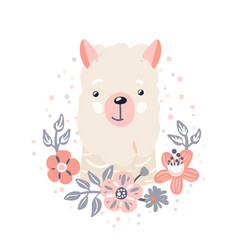 lama cute animal baby face with flowers and leaves vector image