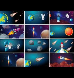 Large space scene set vector
