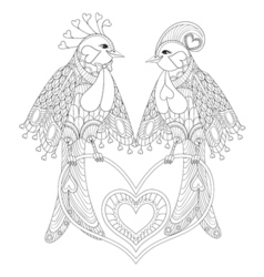 Lovely couple of exotic bird sitting on heart for vector