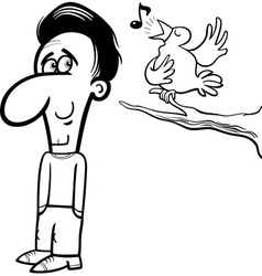 man and bird cartoon coloring book vector image