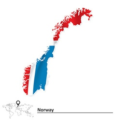 Map of Norway with flag vector image