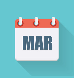 March Dates Flat Icon with Long Shadow vector image
