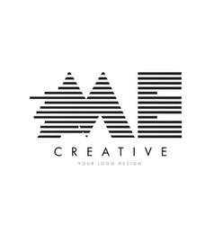 me m e zebra letter logo design with black and vector image