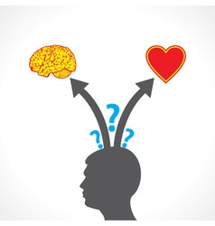 Men confuse between brain and heart vector