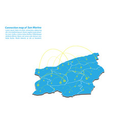 Modern of san marino map connections network vector