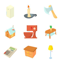 Neighbourhood icons set cartoon style vector