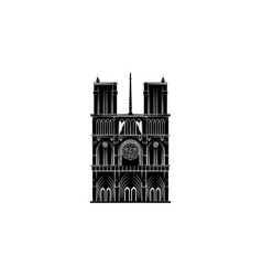 notre dame cathedral black on white background vector image