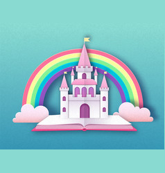 Open fairy tale book with castle and rainbow vector