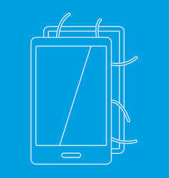 Opened phone icon outline style vector