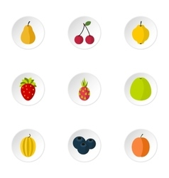 Orchard fruits icons set flat style vector