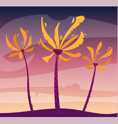 palms on island sky and sunset cartoon vector image