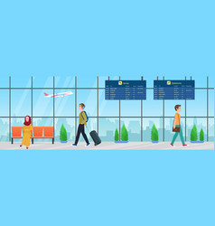 Passenger people with luggage waiting for airplane vector