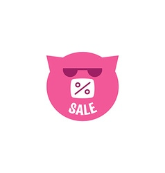 Pink Pig in sunglasses with inscription sale vector
