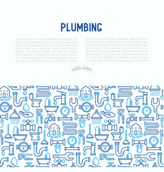 Plumbing concept with thin line icons vector