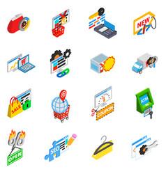 Retailer icons set isometric style vector
