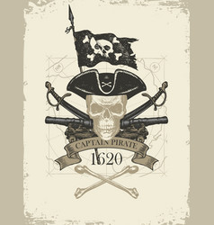 retro banner with armed pirate skull and old map vector image