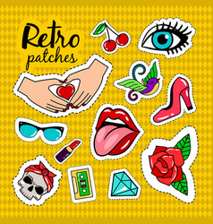 Retro style colorful stickers vector