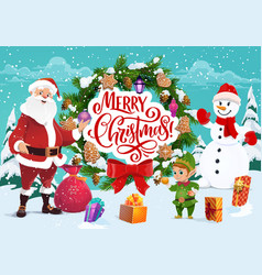 Santa claus and snowman merry christmas greeting vector